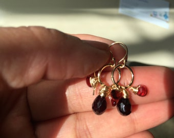 Garnet gold Earring, Lilyb444, Gifts for her, Jewelry,