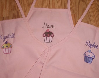 Kids Embroidered CHEF APRON Personalized Free Cupcake