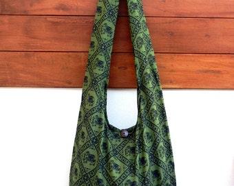 Cotton Sling Bag, Womens Purse, Hippie Hobo bag, Crossbody bag, Messenger Bag, Elephant Bag / 6 beautiful colors to pick