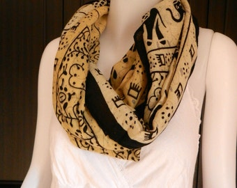 SOFT Cotton Scarf Elephant Parade Print Infinity Scarf Tan Brown Long Scarf Shawl Wrap Women Holiday Fashion Accessories