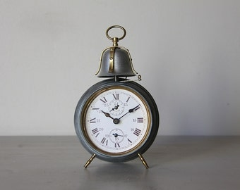 LARGE Antique Alarm Clock Industrial Loft Deco Bell Alarm
