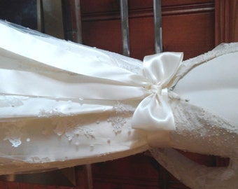 Large Bow Wedding Dress Bow Ivory on a Pin Back,  Big Bow Bridal Gown Bow, Satin Bridal Bow,  Bow Bridesmaids, Flower Girl dress Bow