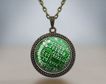 CIRCUIT BOARD PENDANT Necklace / Unique Gift for her / Computer motherboard / Nerd Gift / Green Blue Purple or Red / Geek Gift / Gift boxed