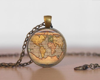 Ancient WORLD MAP NECKLACE / Antique Map Pendant / Unique Gift for Her / Map Jewelry / Globe / Vintage Map  / brass pendant / gift boxed