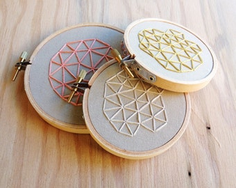 Set of 3 Mini Geometrics Hand Embroideries