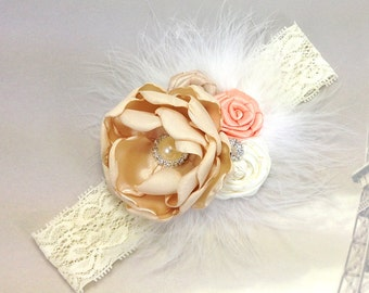 Champagne Ivory Peach with Feather and Lace Headband for Baby Girl, Photo Prop, Baptism, Shower Gift or for Flower Girls