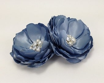 French Blue Hair Pins - Satin Flower Brooch Pin Shoe Clip for a Bride, Bridesmaid, Formal Occasion, Pick Your Color - Kia Collection