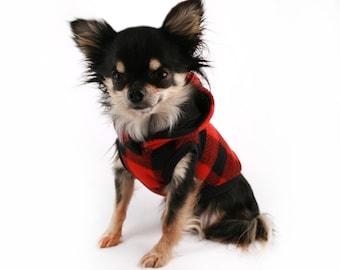 Dog Clothes Red and Black Buffalo Plaid Flecce fleece dog hoodie Cute dog coat