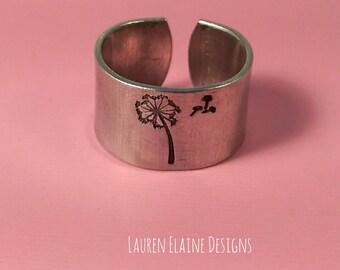 Dandelion Wish Hand Stamped Aluminum Ring