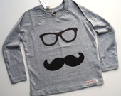 Geeky Moustache disguise appliqué long sleeve t shirt grey 8-9 years