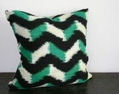Woven Green Cream and Black Ikat Throw Pillow