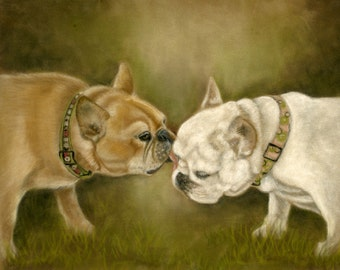 Kiffy & Icey  the French Bulldogs- a pastel drawing from artist Wendy Leedy's dog collection-fine art print, signed