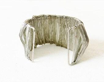 Vintage Silver Wire Wrap Cuff Bracelet