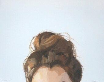 "8x10"" hair art - bun print - ""Top Knot 45"""