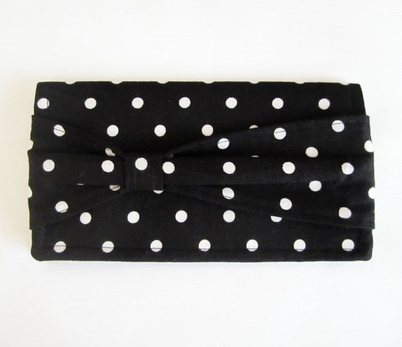 Adorable Black and White Polka Dot Checkbook Cover with a Bow