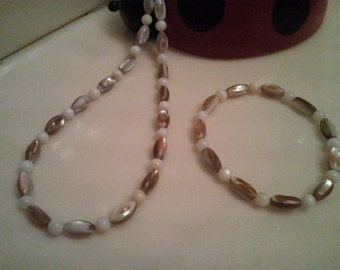 Handmade Beaded Necklace - Shades of Brown - Handmade Beaded Necklace - Fish water Pearls Necklace - Brown Beaded Necklace 25.50