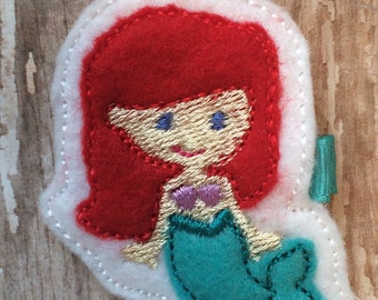 A Little Red Haired Mermaid Wool Felt Hair Clip Baby Toddlers Girls Holidays
