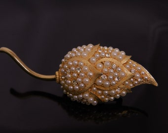 Unique Vintage Tulip Shaped Floral Brooch With Faux Pearls And Rhinestones