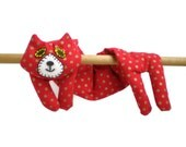 Neck Shoulder Microwave Heat Pack Cold Pack - Flat Cat Rice Heat Cold Pack Microwavable - Red with Gold Spots - Christmas Cat