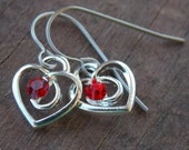 Titanium Earrings, Silver Heart with Red Crystal on Hypoallergenic Titanium Ear Wires