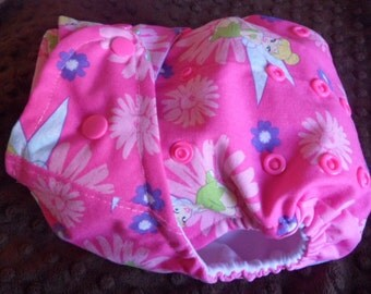 SassyCloth one size pocket diaper with Tinkerbell on pink print. Ready to ship.