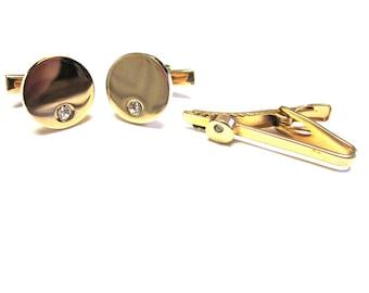 Gold Cuff Links Joske's Cufflinks Tie Tack Tie Tac Set