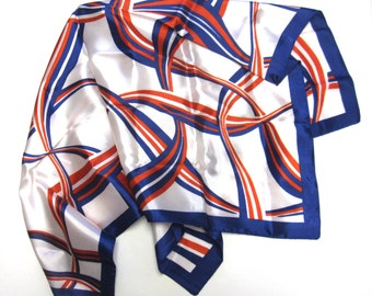 Red White Blue Scarf Hair Wrap Head Accessory Geometric