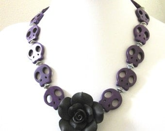 Skull Necklace Black Rose Sugar Skull Day of the Dead Necklace Rockabilly Jewelry Purple