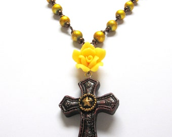 Western Cross Necklace Rose Copper Yellow