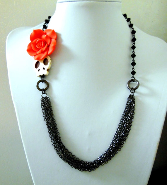 day of the dead necklace sugar skull jewelry white chain