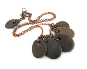 Rock Necklace Mediterranean Beach Stone Necklace Pebble Jewelry Natural Stone Charm Necklace River Rock Stone Copper Rustic Jewelry IONA