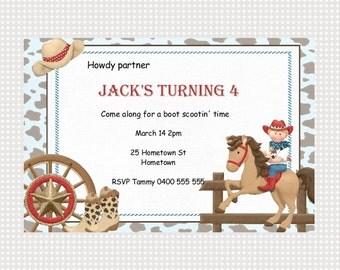 Cowboy Birthday Invitation Printable Personalized