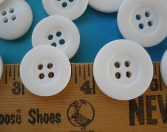 Craft Stash Builders White Buttons Choose 21MM or 18mm 34L 28L suit shirt coat style buttons bulk sewing 24 buttons