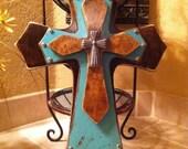 Turquoise Wood Cross, Large Turquoise Wood Cross Rustic Walnut Stain and Turquoise Wood Cross