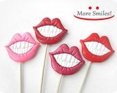 4 Plastic Lips with teeth on a  Stick - Christmas, Wedding, party photobooth