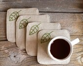 Green Leaves Coasters, a set of 4, Hand embroidered, Natural Linen and Cotton, Nature Inspired Home Decor