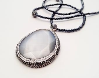 Crystal Quartz Stone Pendant Necklace, Sterling Silver, Swarovski Crystals, Beaded Necklace