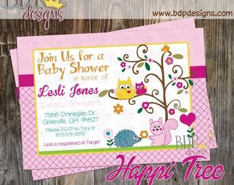 Happi Tree Forest Baby Shower Invitation - Digital Download OR Prints (Details Below)
