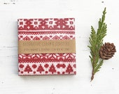 Christmas Coasters Red White Scandi Knitted Pattern Winter Ceramic Tile Coasters Hostess Gift