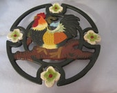 Vintage Rooster Trivet Round Cast Iron Kitchen Wall Art