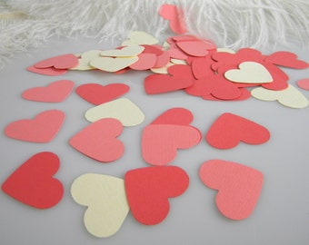 Coral & Ivory Heart Confetti   Table Scatter   shades of Coral Wedding   Tiny Gift Tags 150 Pieces   1.5 Inch   Invitation Confetti