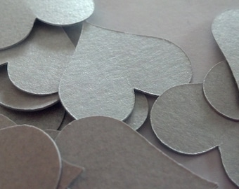 15 Metallic Silver Medium Heart Die Cuts 2 inches