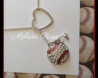 Baseball Lariat Necklace with Rhinestones, Heart and Number, handmade jewelry, pendant, birthday, christmas, gifts for her, sale, mom