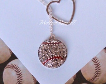 Baseball Lariat Necklace with Rhinestones & Heart , handmade jewelry, mom, girlfriend, wife, sale, birthday, anniversary, gifts for her