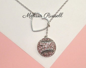 Pink Bling Baseball Lariat Necklace with Rhinestones & Heart , handmade jewelry