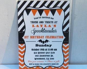 Halloween Invitation Printable or Printed with FREE SHIPPING - Chevron Polka Dot - Halloween Birthday or Halloween Bash
