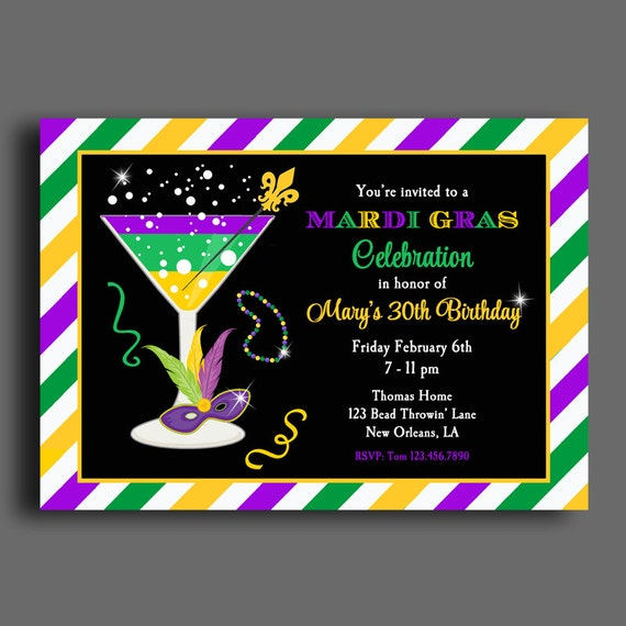 Mardi gras invitation printable or printed with free shipping any il570xn stopboris Image collections