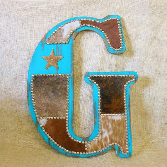 Turquoise cowhide wall letter western home decor wall for Initial decorations for home