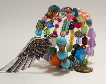 GB02 Colorful Gypsy Bracelet with Vintage and New Beads, Swarovski crystals and so much more