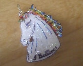 Unicorn Brooch - Rainbow - I Believe - Handcrafted - Wearable Art - Shrink Plastic - Cupid and Psyche